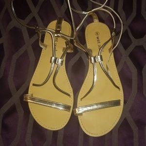 Wet Seal Gold Gladiator Sandals